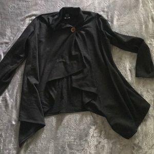 Bobeau Button Cardigan in Black Fleece